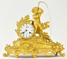 A 19TH CENTURY FRENCH ORMOLU BRONZE FIGURED MANTLE CLOCK OF CHERUB (KEY & PENDULUM WITH STAFF)