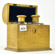 A 19TH CENTURY TWO BOTTLE MINIATURE TANTALUS WITH TURQUOISE INSETS