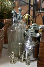 A VINTAGE SODA DISPENSER, FLASK & SILVERED FIGURES