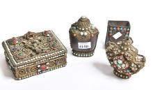 A COLLECTION OF EARLY 20TH CENTURY INDIAN ITEMS WITH CORAL & TURQUOISE INSETS