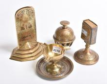 A COLLECTION OF INDIAN BRASS SMOKING ACCOUTREMENTS