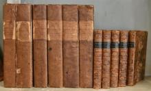 A SHELF OF ANTIQUARIAN BOOKS, INCL. A SIX VOLUME SET OF JAMES MILLS, 'THE HISTORY OF BRITISH INDIA THIRD EDITIONS