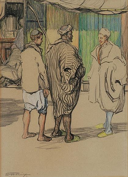 Hilda Rix Nicholas (1884-1961) Three Moroccan Types pastel drawing