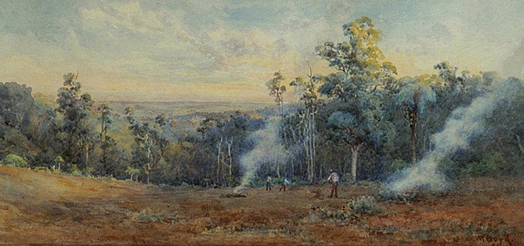 Emma Minnie Boyd (1858-1936) Burning Off, Upper Pakenham 1899  watercolour