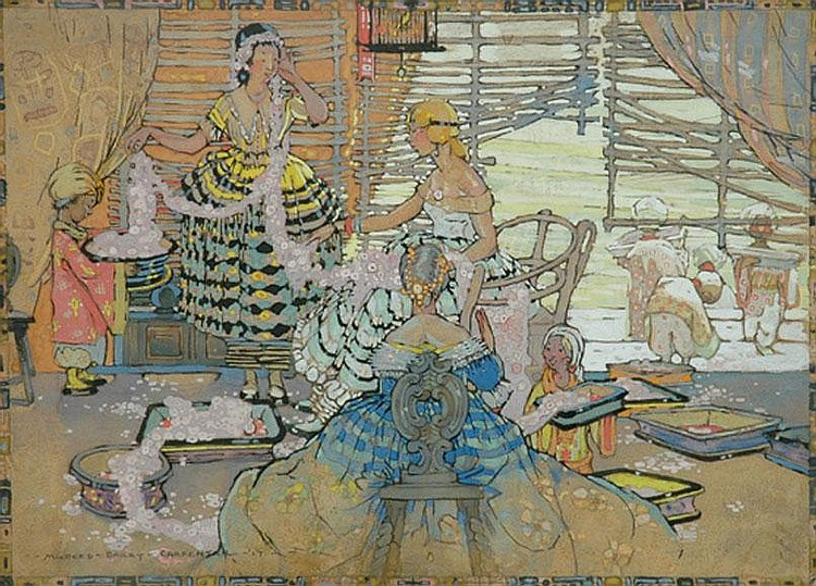 Mildred Bailey Carpenter (American, 1894-circa 1984) On The Veranda gouache