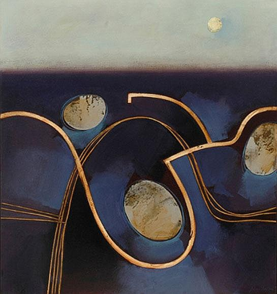 Jules Sher (born 1934) Rising Moon on Salt Pans and Track 2000 acrylic on canvas