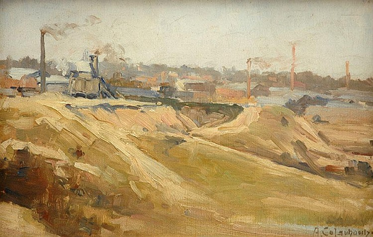 Alexander Colquhoun (1862-1941) The Stone Crusher, Burnley oil on canvas on board