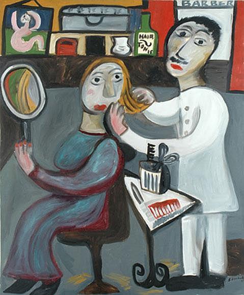 Sarah Faulkner (born 1959) The Barber Shop 1987 oil on canvas