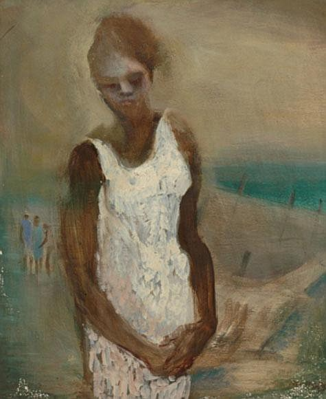 James Wigley (1918-1999) Girl oil on board