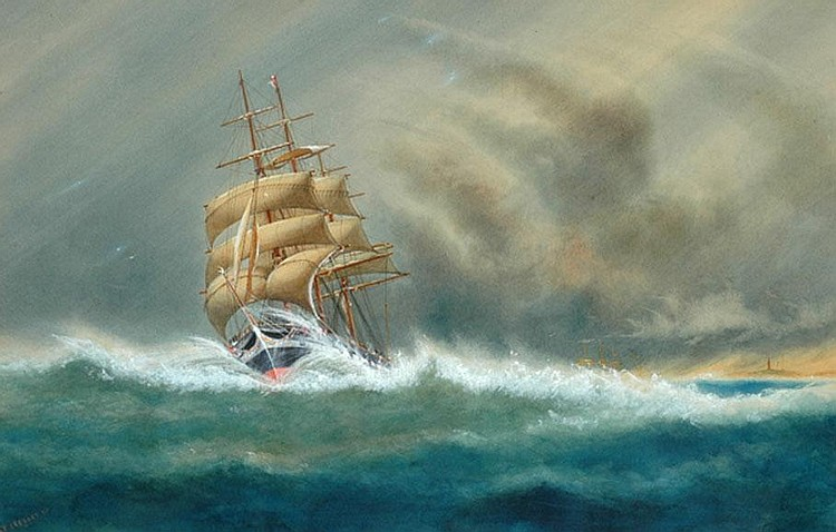 A.V. Gregory (1867-1957) Ship in Sail 1903 watercolour
