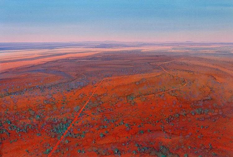 Ben Shearer (born 1941) On the road to Meekatharra 1997 watercolour