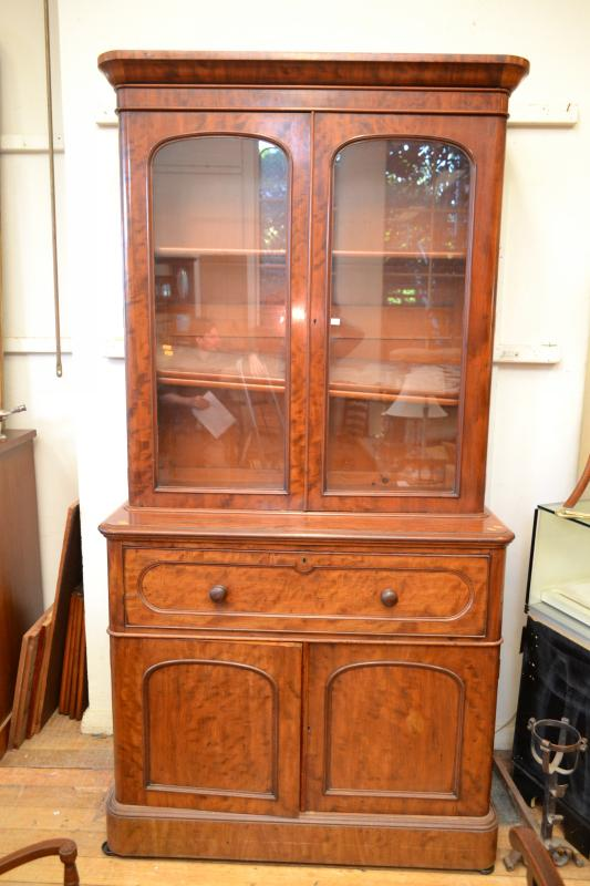 A Victorian Bookcase Secretaire With Birdseye Maple Internal