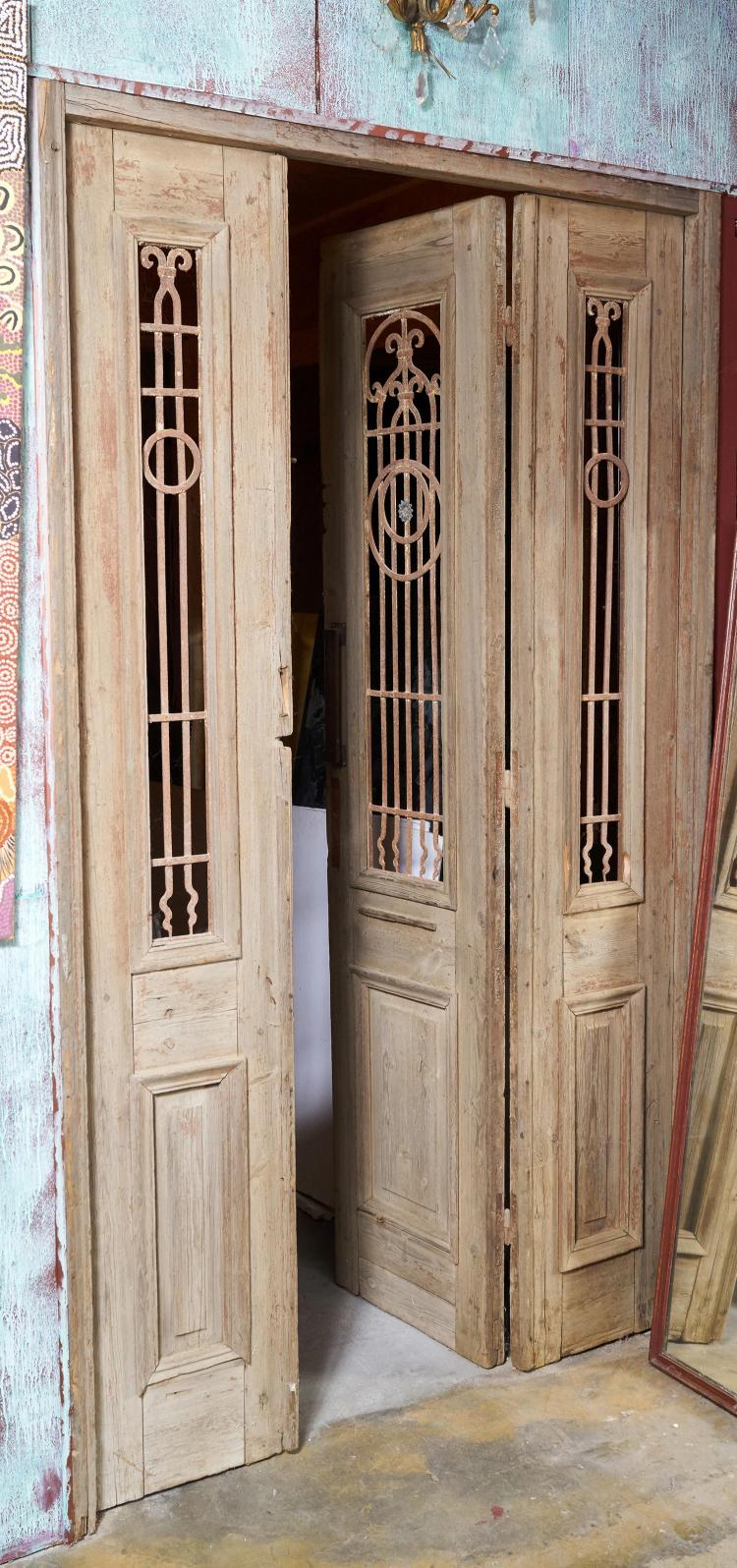 Three early 20th century french doors for Three door french doors