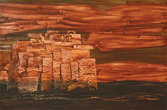 JOSEPH OSTOJA-KOTKOWSKI (1922-1994) The Fortress 1961 acrylic on board