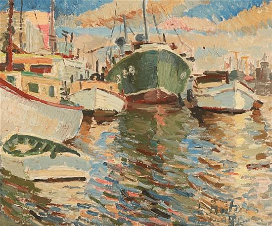 LUDMILLA MEILERTS (1908-1998) Yarra Boats 1954 oil on canvas