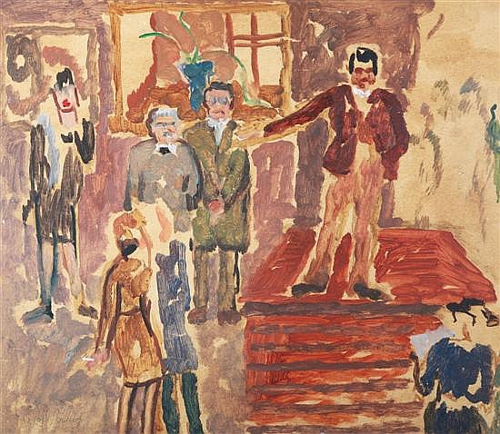 SYBIL CRAIG (1901-1989) Opening at an Art Gallery circa 1937 oil on board