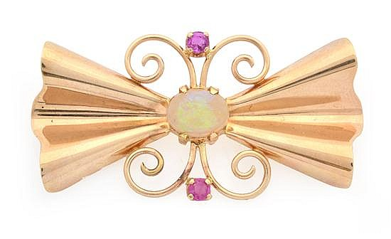 AN OPAL AND RUBY BROOCH BY TIFFANY & CO