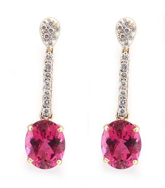 A PAIR OF RUBELITE AND DIAMOND EARRINGS