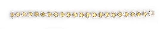 A YELLOW AND WHITE DIAMOND BRACELET