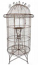 A LATE 19TH CENTURY FRENCH WIRE PARROT CAGE