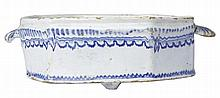 FRENCH FAIENCE NEVERS RECTANGULAR DEEP SIDED DISH WITH SHELL HANDLES 18TH CENTURY