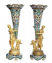 A PAIR OF FRENCH GILT-BRONZE AND CLOISONNE ENAMEL FIGURAL VASES, CIRCA 1890