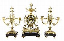 A NAPOLEON III CLOCK GARNITURE, 19TH CENTURY BY CHARLES GAUTIER PARIS CIRCA 1856 - KEY, PENDANT & ORIGINAL RECEIPT