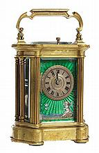 A FINE LATE 19TH CENTURY FRENCH ENAMELED GUILLOCHE STRICKING AND REPEATING CARRIAGE CLOCK