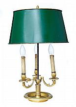 A FRENCH CHASED AND GILDED BRONZE LAMP, BOUILLOTTE WITHLACQUERED METAL SHADE, CIRCA 1830 EMPIRE PERIOD