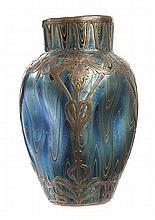 A LOETZ SILVER OVERLAY IRIDESCENT GLASS VASE