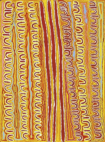 BETSY NAPANGARDI LEWIS (BORN CIRCA 1940) Women's Story with Digging Sticks 2005 acrylic on linen