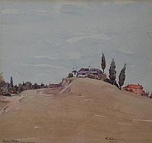 ROY PHILLIP PARKINSON, THREE TREES, IVANHOE 1937, WATERCOLOUR, 23 X 24CM