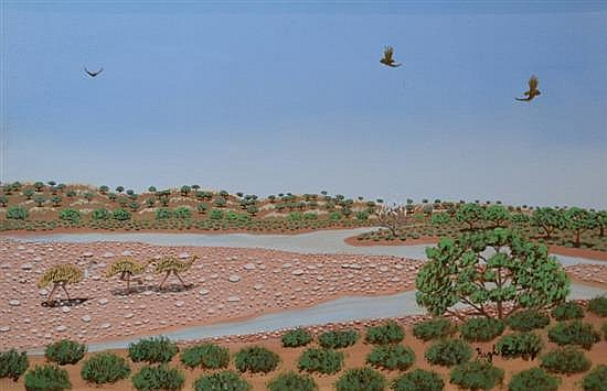 HUGH SCHULZ, AFTER RAINS OUTBACK, OIL ON CANVAS BOARD, 29 X 44CM