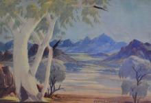 CLAUDE PANNKA, CENTRAL AUSTRALIAN LANDSCAPE, WATERCOLOUR, 31 X 45 CM