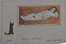 CHARLES BLACKMAN, VENUS DU MILO 2012, MIXED MEDIA ON PAPER, 21 x 29.5CM