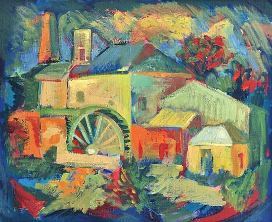 Joseph Stanislaus Ostoja-Kotkowski (1922-1994) Watermill in the Adelaide Hills 1955 oil on canvas