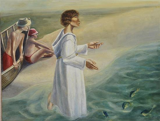 Salvatore Zofrea (born 1946) Saint Anthony Preaching to the Fishes 1977 oil on canvas