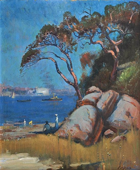 Dixon Copes (born 1914) Sydney Harbour oil on canvas on board