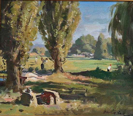 William Dargie (1912-2003) 7th Tee, Old Canberra Golf Course oil on canvasboard