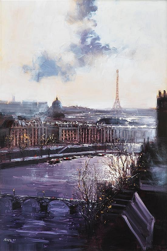 Herman Pekel (born 1956) Paris Roof Tops oil on board