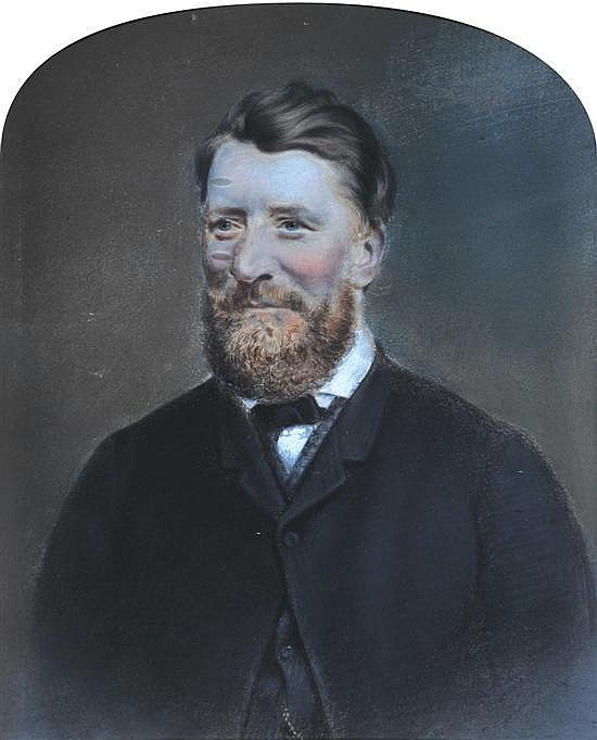 Attributed to William Paul Dowling (1824-1875) Portrait of Robert Gatenby J.P pastel and crayon