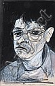 Kevin Lincoln (born 1941) Nocturnal Self Portrait 1977 mixed media on paper, Kevin Lincoln, Click for value