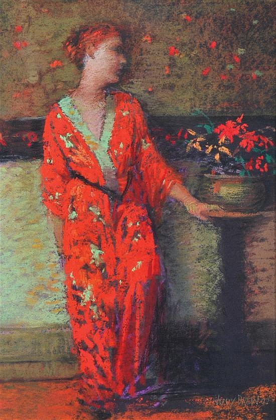 Judy Drew (born 1951) The Orange Kimono 2002 pastel