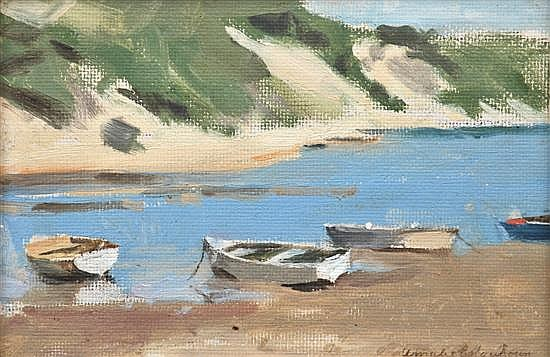 Amalie Colquhoun (1894?-1974) Boats on the Shore oil on board