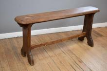 A 19TH CENTURY TIMBER BENCH