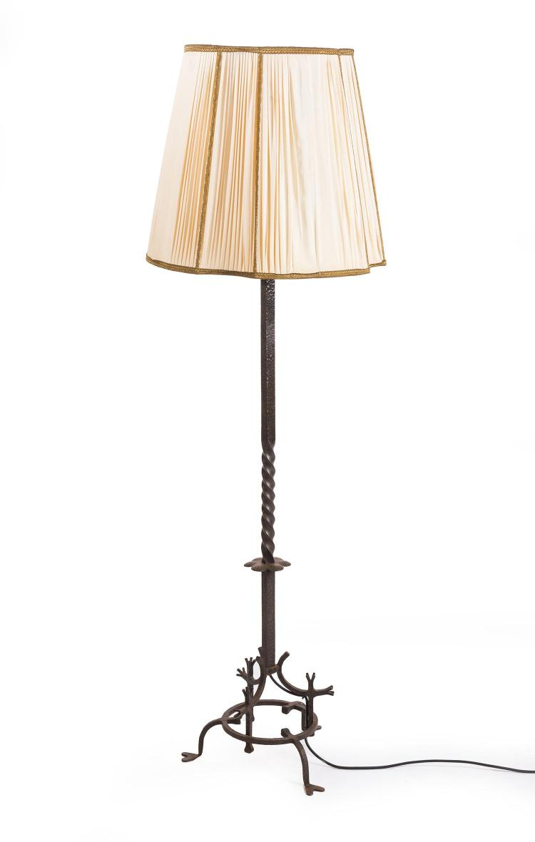 A decorative art deco wrought iron floor lamp for Art deco floor lamp melbourne