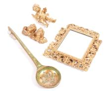 A 19th CENTURY GILT FRAMED MIRROR ( AS IS ), DECORATIVE CHURUBS AND DECORATIVE FRENCH HANGING SPOON