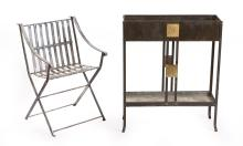 ART NOUVEAU TWO TIER PLANTER AND METAL OUTDOOR CHAIR