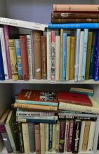 TWO SHELVES OF BOOKS ON HOSPITAL HISTORIES AND MEDICAL BIOGRAPHIES