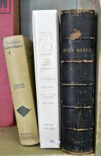 THREE BIBLES INCLUDING ONE LARGE FULL LEATHER BIBLE